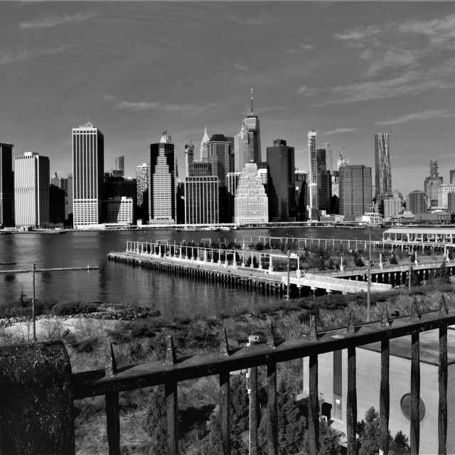 """The Lower Manhattan skyline in black and white"" stock image"
