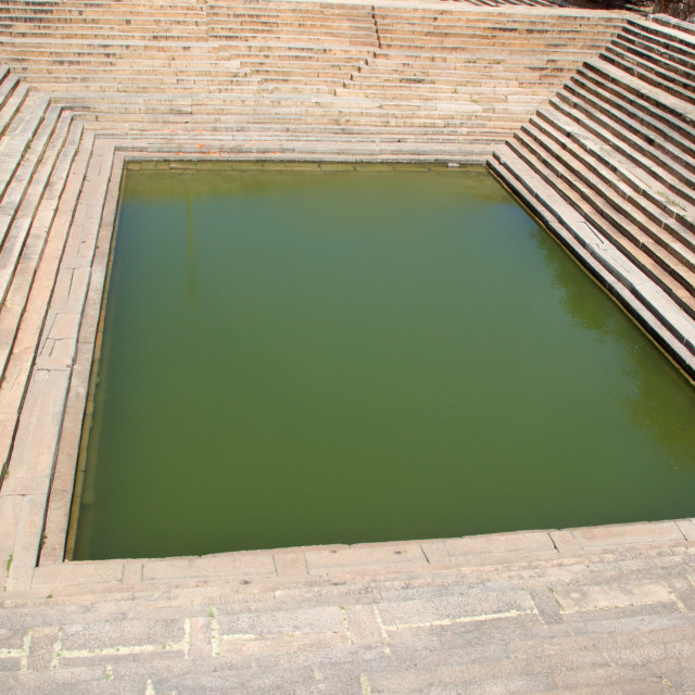 """""""Pond with Steps, Melukote"""" stock image"""