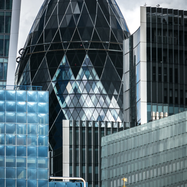 """View across the Thames of the 'Gherkin', London,UK"" stock image"