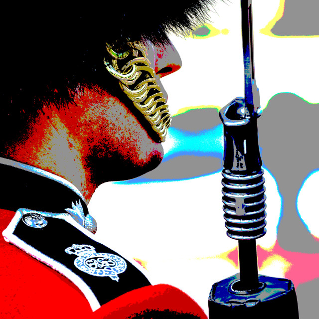 """Posterised Grenadier Guard, The Mall, London, UK"" stock image"