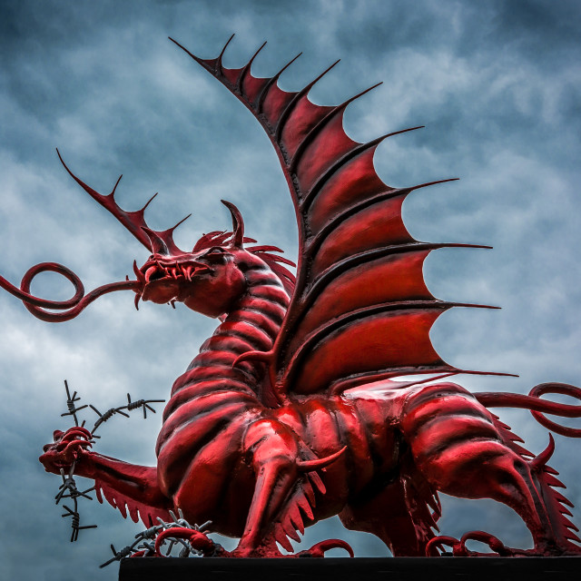 """The red dragon memorial to the 38th (Welsh) Division, Memetz Wood, Picardie,..."" stock image"