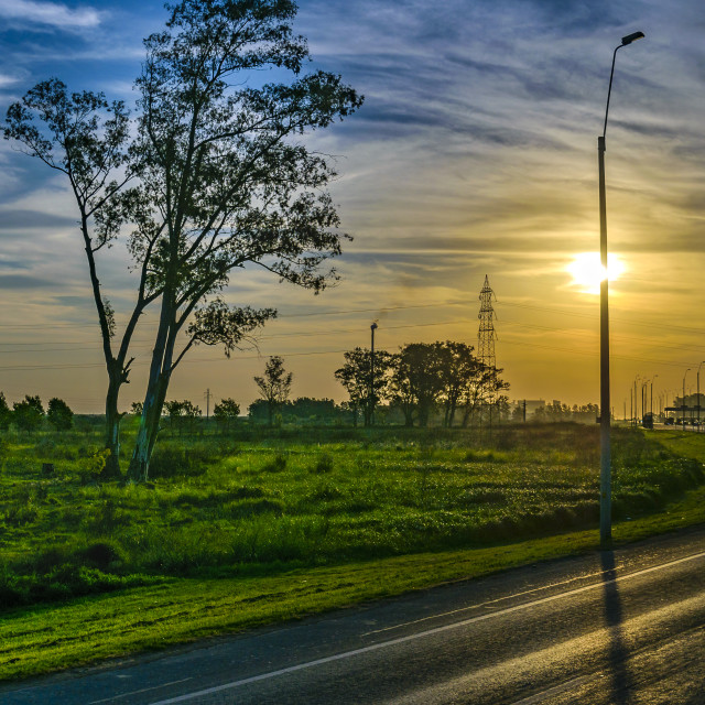"""""""Field Highway at Sunset Time, Uruguay"""" stock image"""