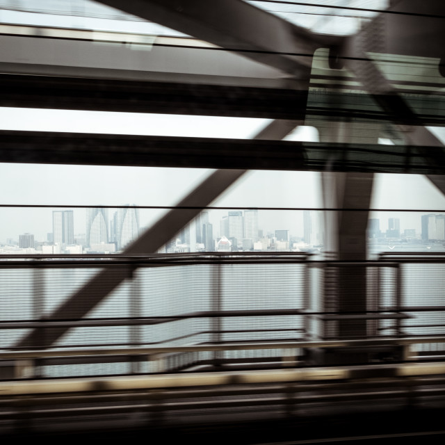 """Tokyo skyline from the bridge"" stock image"