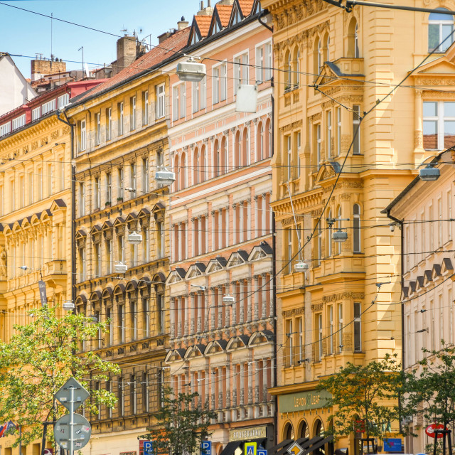 """""""Buildings on a city centre street in Prague."""" stock image"""