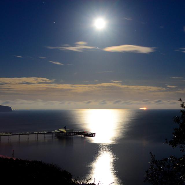 """""""Super Full Moon Over Sandown Bay"""" stock image"""