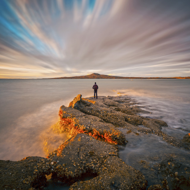 """Dusk hour at St Heliers bay Auckland New Zealand"" stock image"