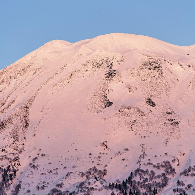 """""""Mont Yotei full Moon in Niseko."""" stock image"""