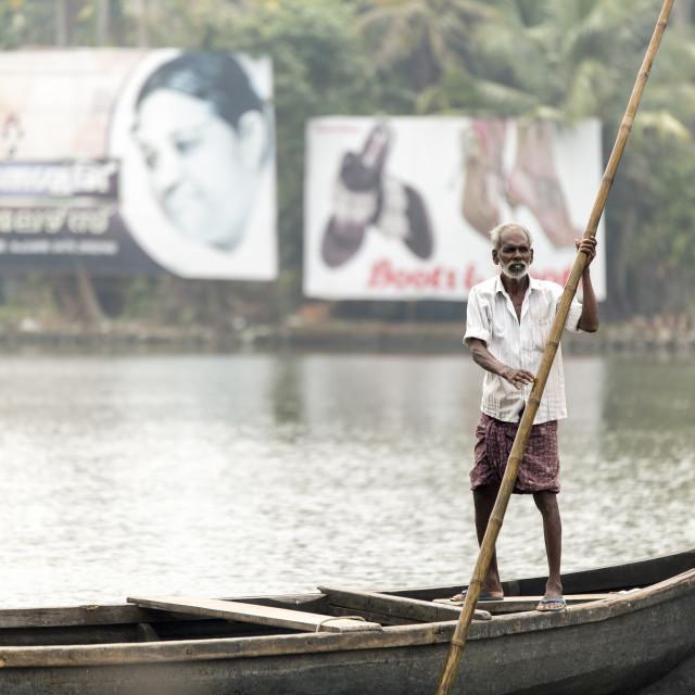 """""""Boat captain in India."""" stock image"""