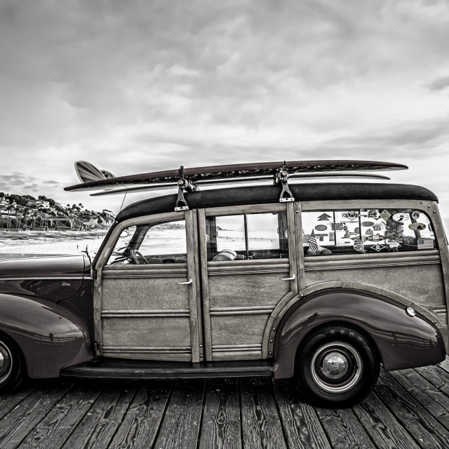 """""""Woody on a Pier in Black and White"""" stock image"""