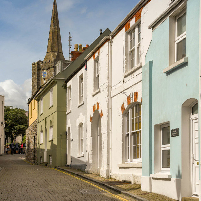 """""""Painted houses in Tenby, Wales."""" stock image"""