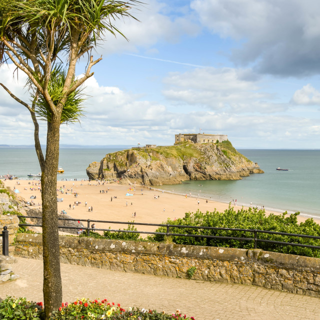 """""""Scenic view of St Catherine's Island in Tenby, Wales"""" stock image"""