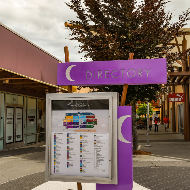 """""""Store directory and map notice board at the Premium Outlets near Seattle."""" stock image"""