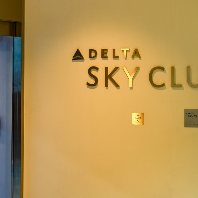 """""""Sign at the entrance to the Delta Sky Club in Seattle"""" stock image"""