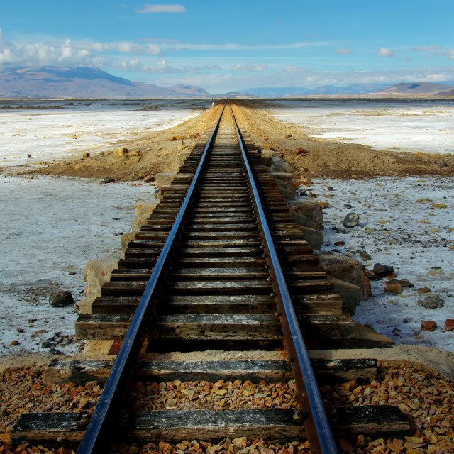"""Train tracks in the Salt Flats of Uyuni"" stock image"