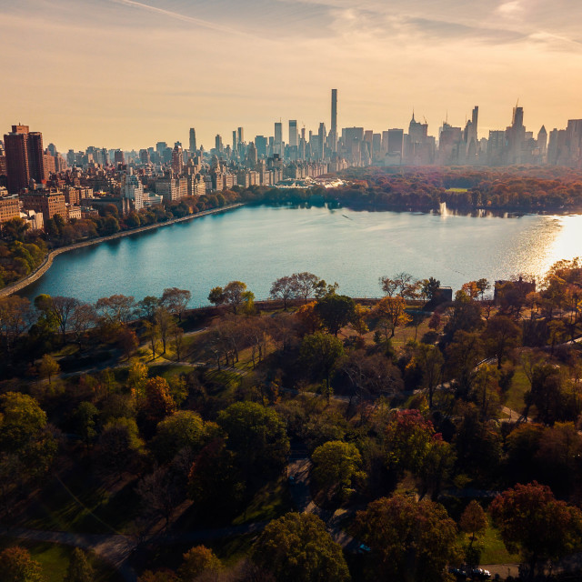 """""""Aerial of Central park and downtown Manhattan"""" stock image"""