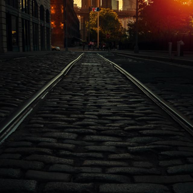 """Brooklyn bridge on a sunny day"" stock image"