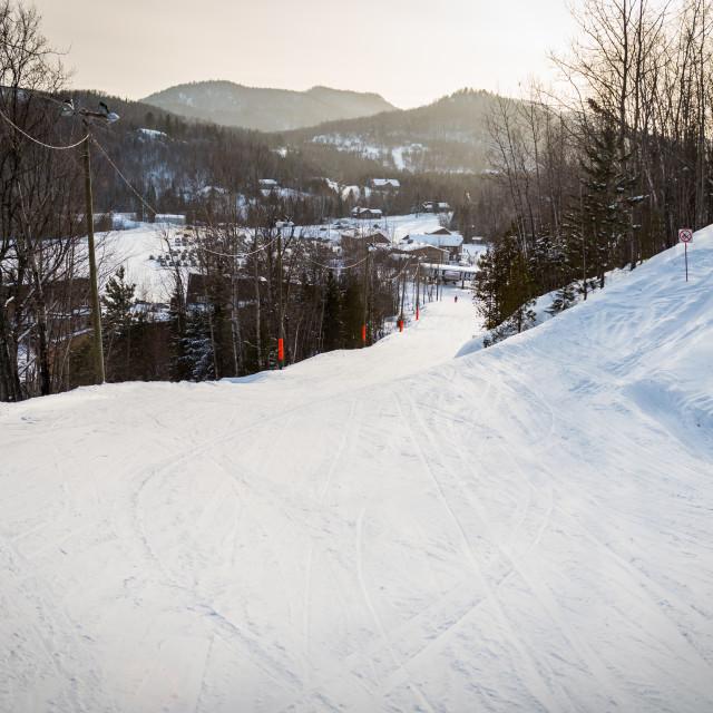 """Ski hill Val Saint-Côme"" stock image"