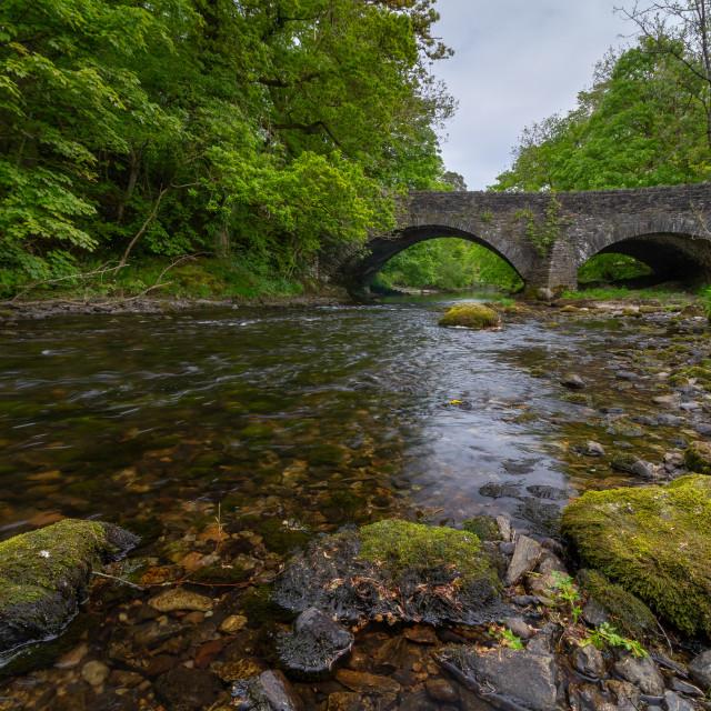 """A bridge over the river Brathay"" stock image"
