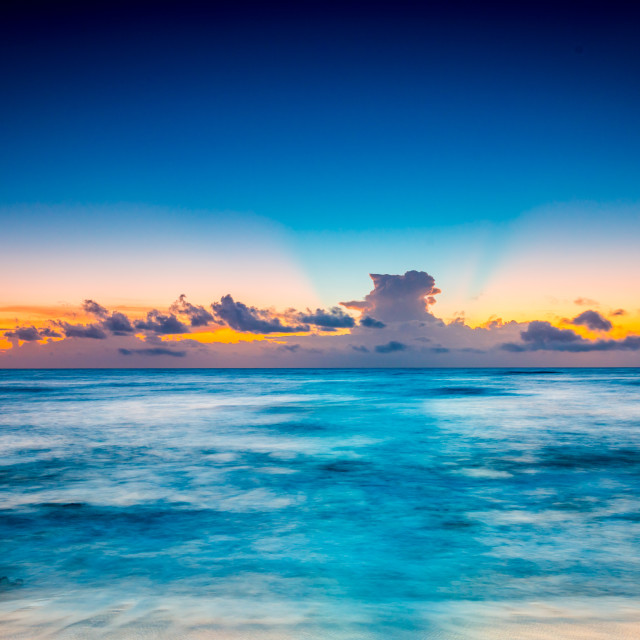 """Sunrise on the beach in Riviera Maya"" stock image"