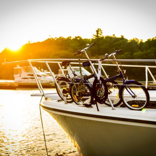 """Sunset in Gananoque Marina"" stock image"