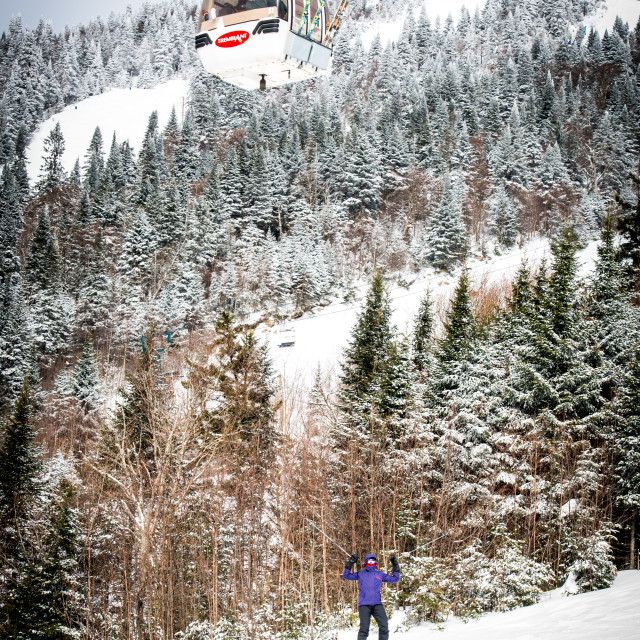 """""""Downhill skier at Mont Tremblant"""" stock image"""