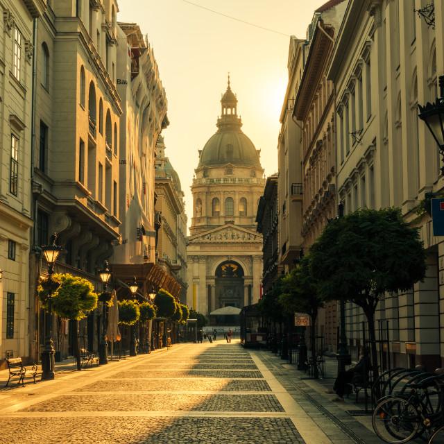 """""""Morning walk towards St Stephen Basilica"""" stock image"""