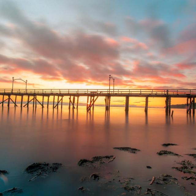 """White Rock Pier Sunset"" stock image"
