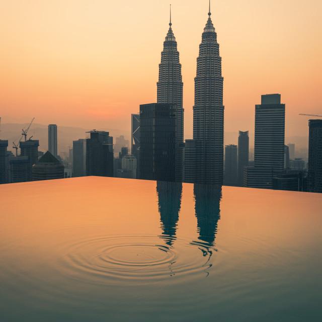 """Infinity pool sunrise"" stock image"