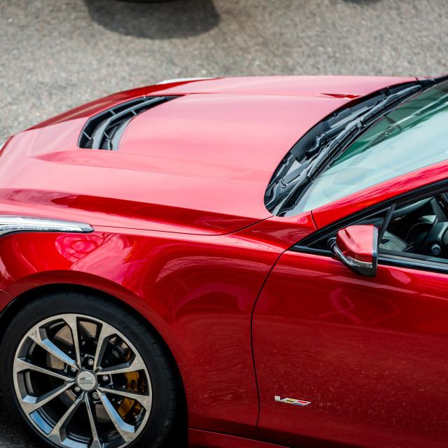 """""""Red Cadillac ATS-V"""" stock image"""