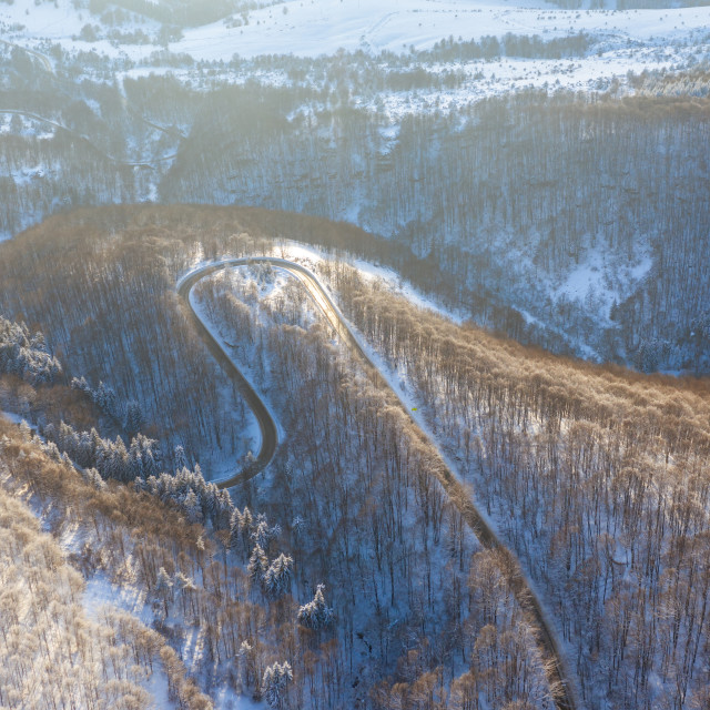 """""""Aerial view on the road and forest at the winter time."""" stock image"""