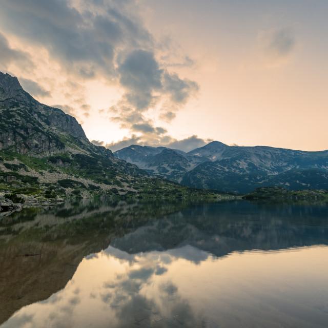 """Popovo lake at Bezbog, Bulgaria and mountains reflection."" stock image"