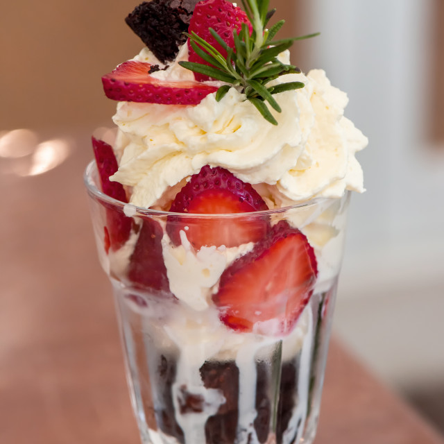 """""""Sweet ice cream with fresh strawberry and whipping cream"""" stock image"""