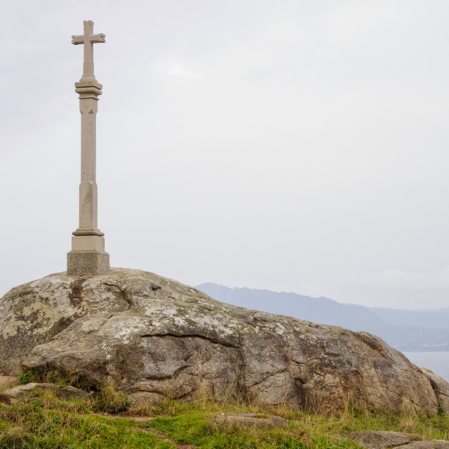 """""""Stone cross at the end of the Earth - Cape Finisterre"""" stock image"""