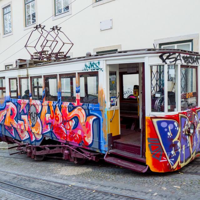 """""""Elevador da Gloria, Lisbon cable car"""" stock image"""