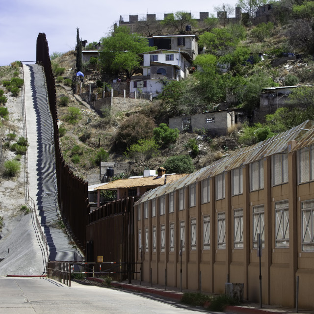 """""""United States Border Wall with Mexico in Nogales Arizona"""" stock image"""