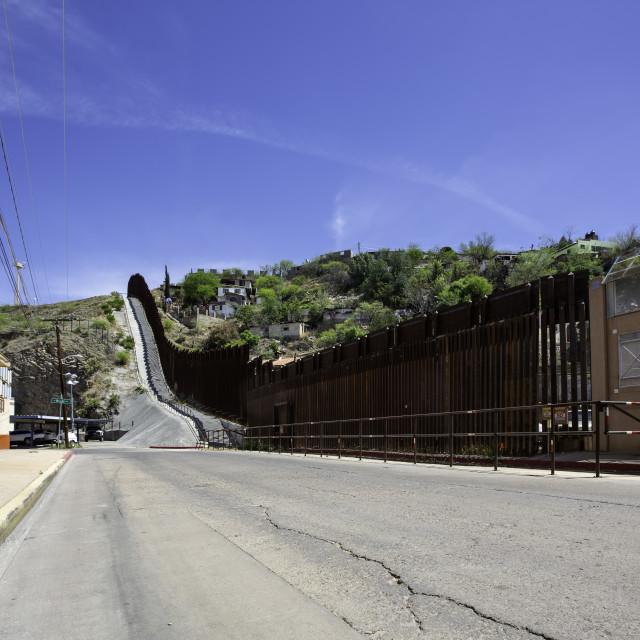 """United States Border Wall with Mexico at Nogales Arizona"" stock image"
