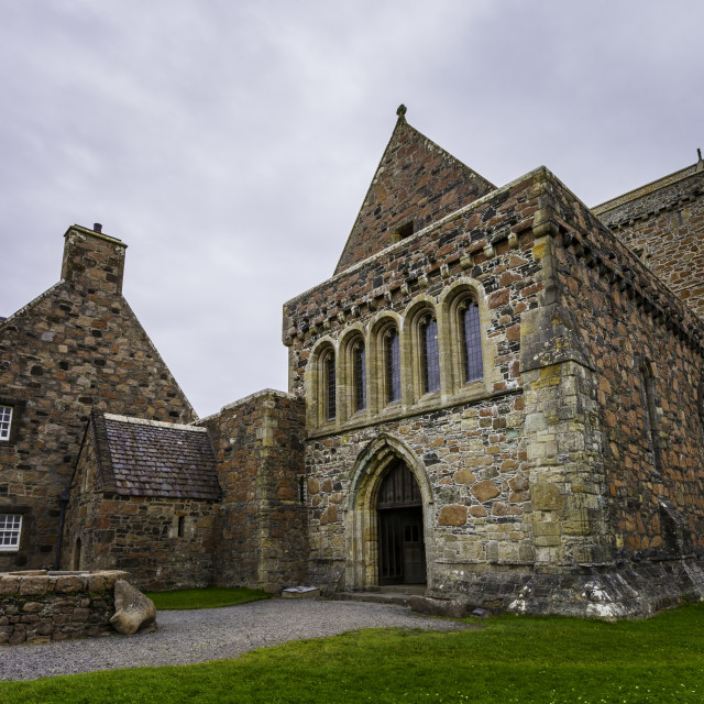 """""""Iona Abbey Including Newer Construction"""" stock image"""