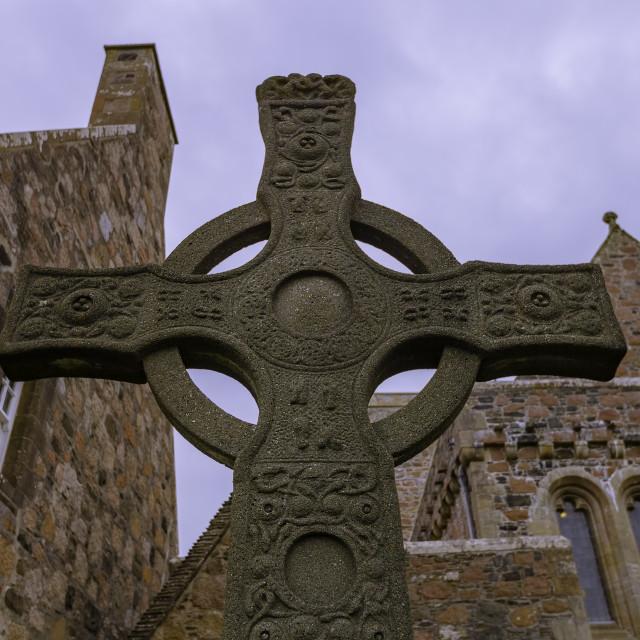 """Saint Johns Cross at Iona Abbey"" stock image"