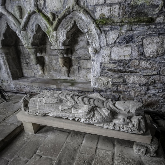 """""""Stone Effigy of Dominic in Iona Abbey"""" stock image"""