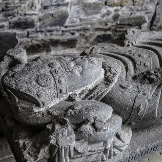 """Carved John MacKinnon Effigy in Iona Abbey"" stock image"