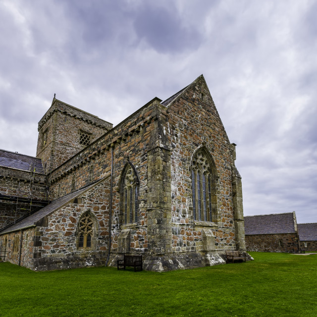 """""""Iona Abbey Exterior on a Cloudy Day"""" stock image"""