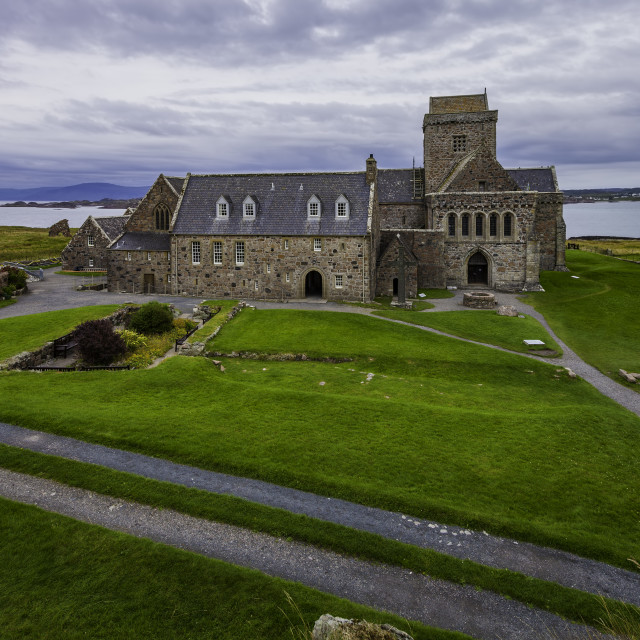 """""""Iona Abbey with the Isle of Mull in the Background"""" stock image"""
