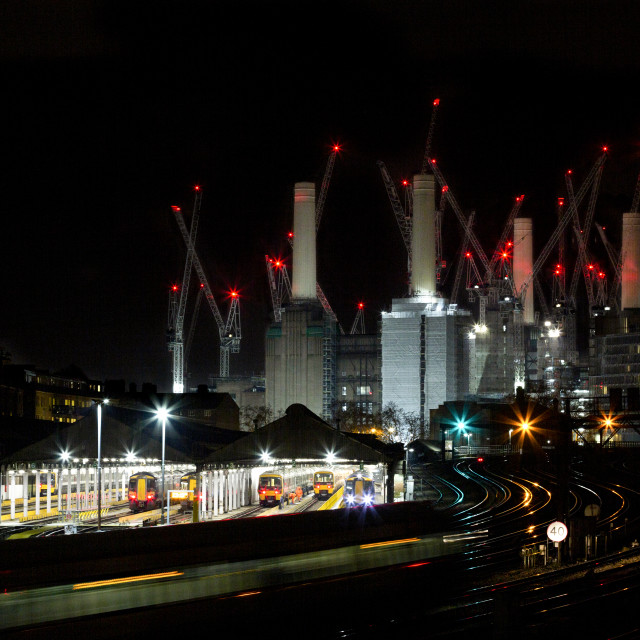"""Battersea Power Station, Night"" stock image"