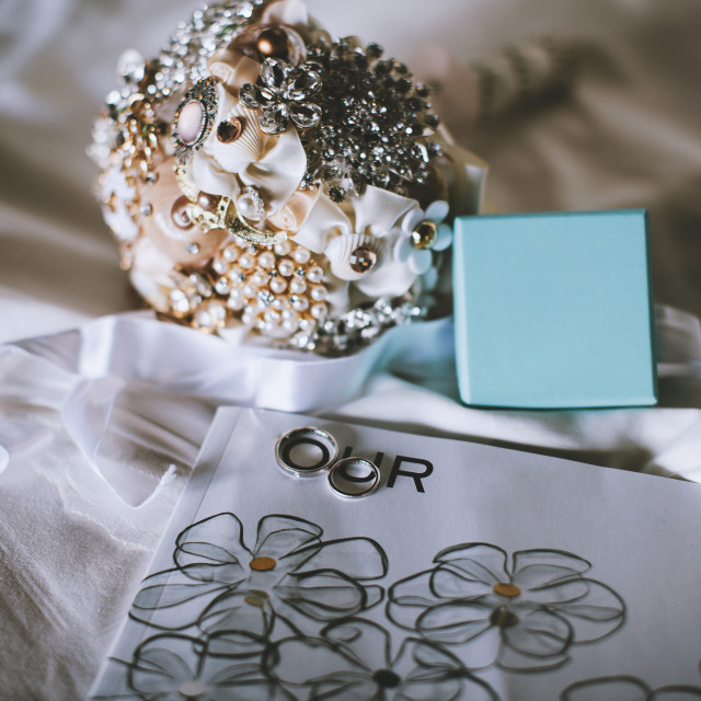 """""""Handcraft brooch bouquet and wedding rings"""" stock image"""