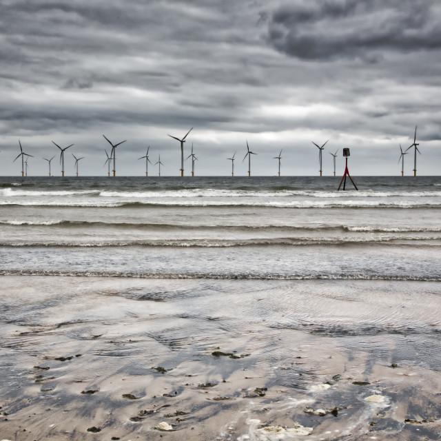 """Redcar Beach and Windfarm."" stock image"