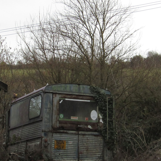 """old derelict citroen in countryside"" stock image"