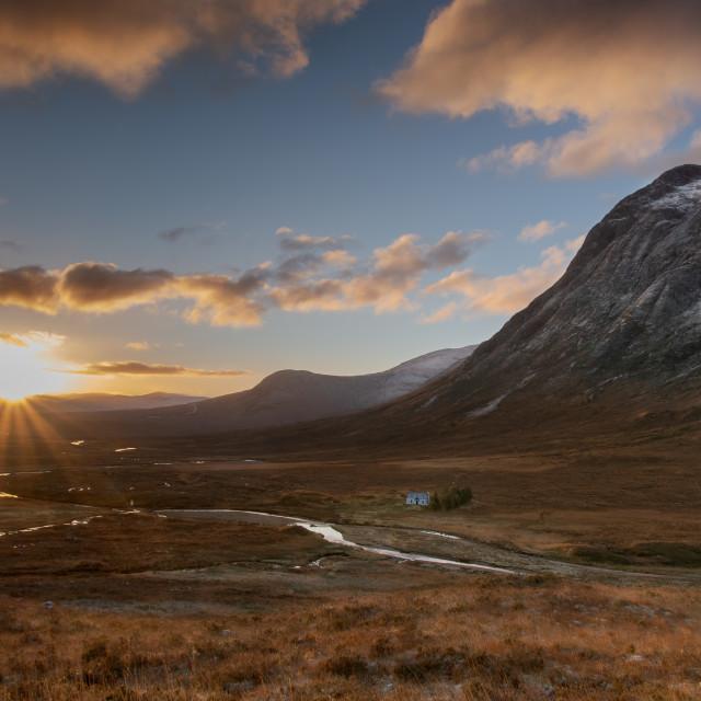 """Sunrise at the Buachaille"" stock image"