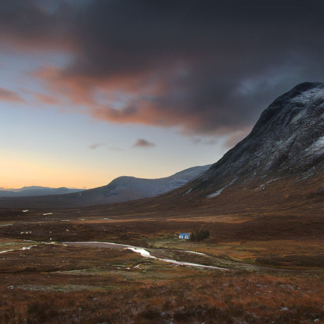 """Sunrise at the Buachaille"" stock image"