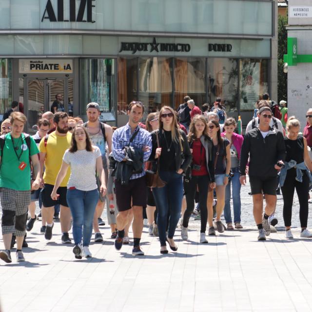 """""""People on the street - Gente en la calle"""" stock image"""