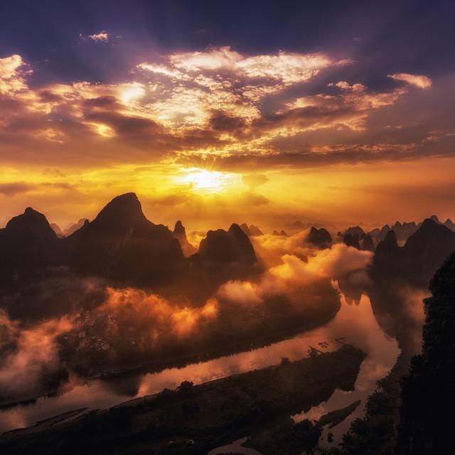 """Guilin Sunrise"" stock image"
